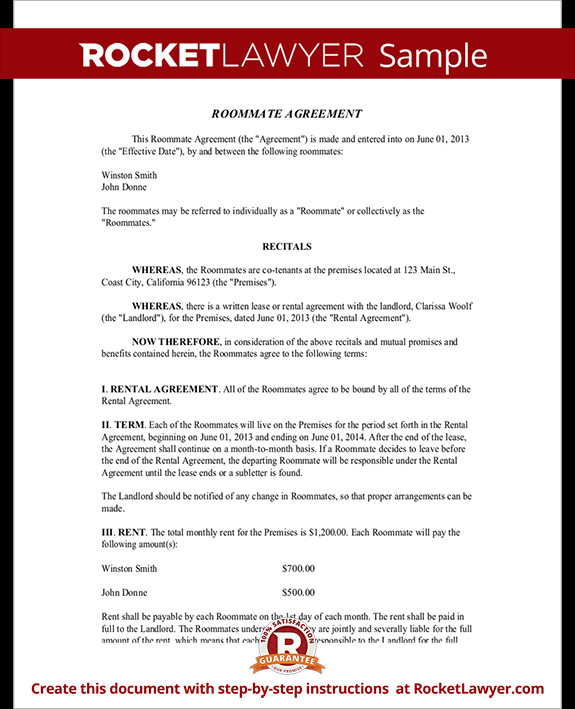 College Roommate Contract Template Roommate Contract Room Rental Agreement