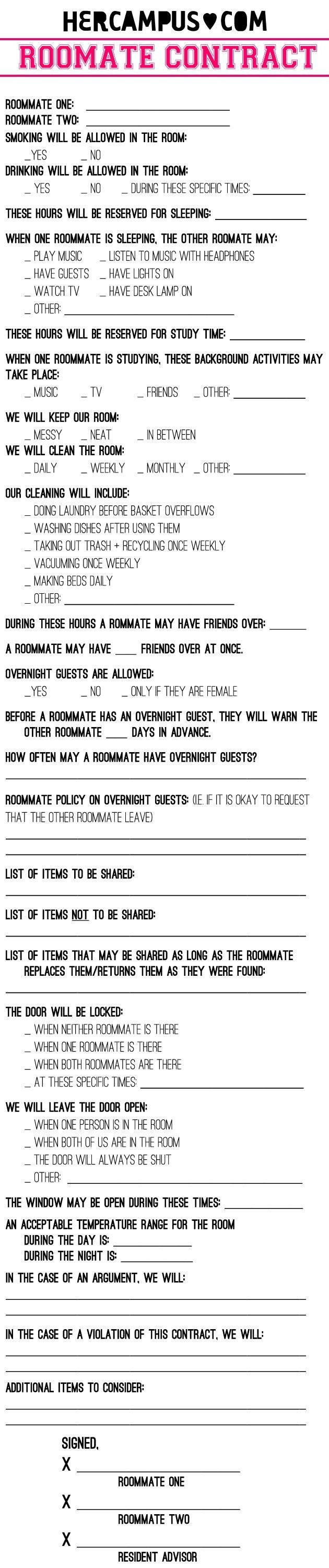 College Roommate Contract Template Should You Make A Roommate Contract Plus A Roommate