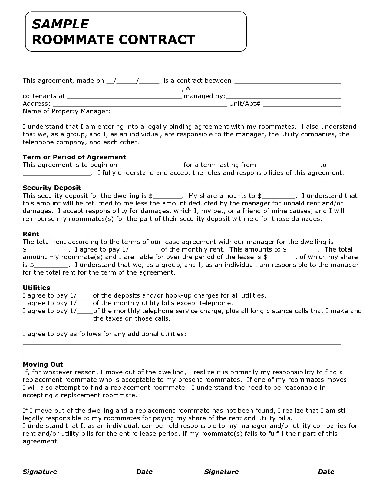 College Roommate Contract Template Template for Roommate Rules Invitation Templates