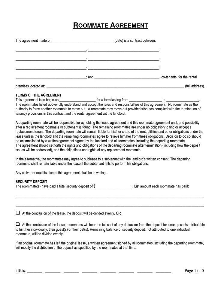 College Roommate Contract Template Termination Of Roommate Agreement by Pqo Roommate