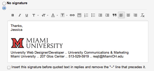College Student Email Signature Add the Miami Logo to Your Email Signature Miami University
