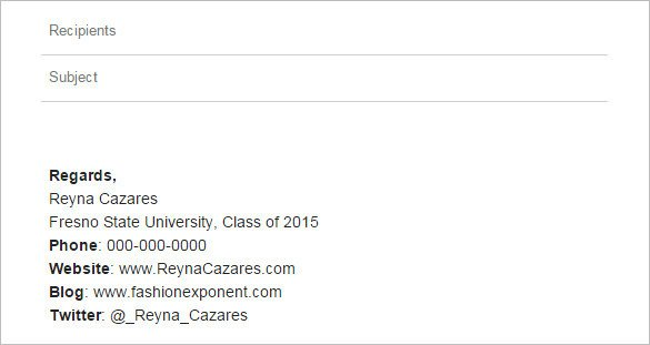 College Student Email Signature College Student Email Signature Example – Free Download
