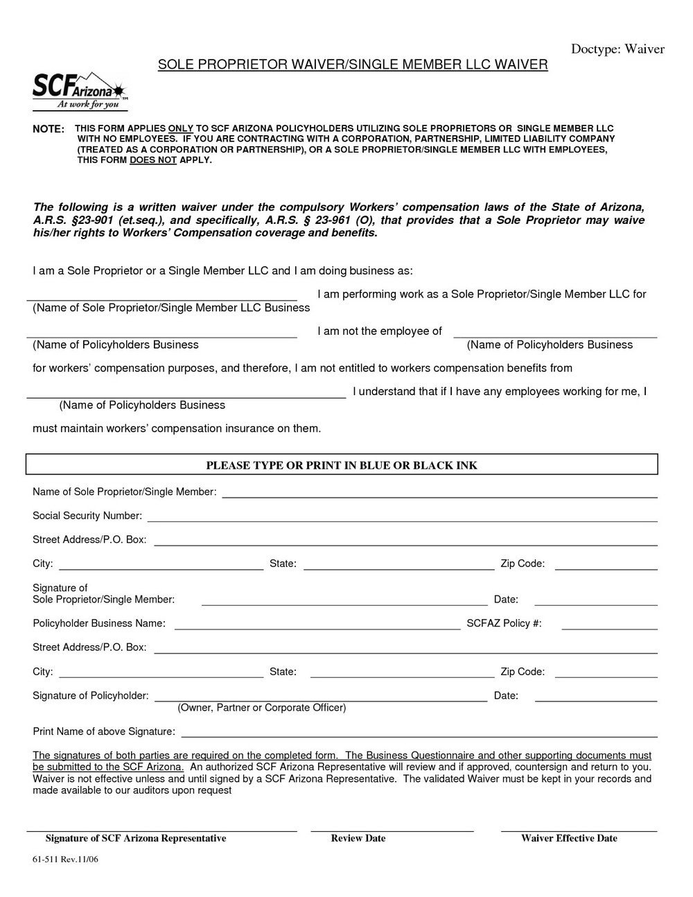 Colorado Workers Comp Waiver form Workers Pensation Waiver form for Independent