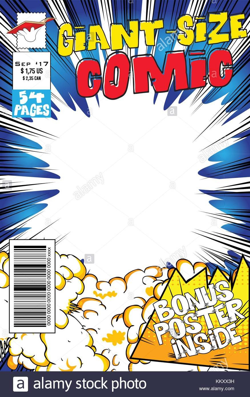 Comic Book Cover Template Editable Ic Book Cover with Blank Explosion Background