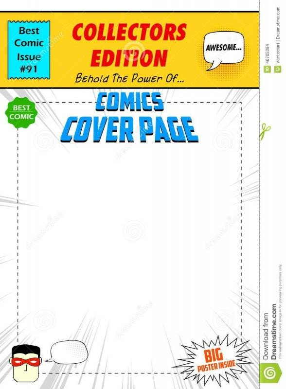 Comic Book Cover Template Free Printable Id Cards Templates