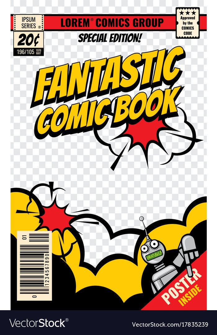 Comic Book Cover Template Ic Book Cover Template Royalty Free Vector Image