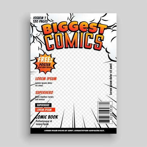 Comic Book Cover Template Ic Cover Template Design Layout Download Free Vector