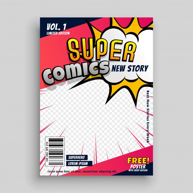 Comic Book Cover Template Pop Art Vectors S and Psd Files