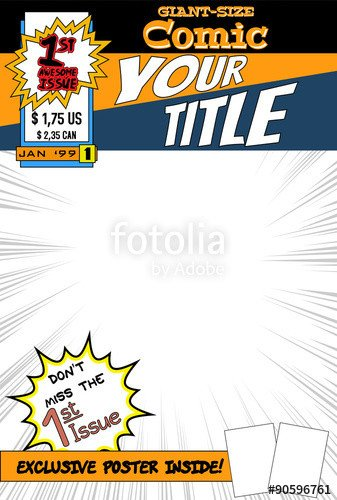 "Comic Book Cover Template ""editable Ic Book Cover with Blank Space "" Stock Image"