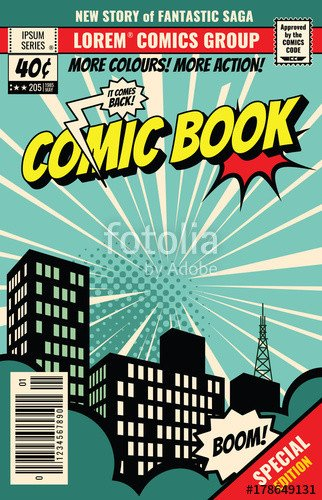 "Comic Book Cover Template ""retro Magazine Cover Vintage Ic Book Vector Template"