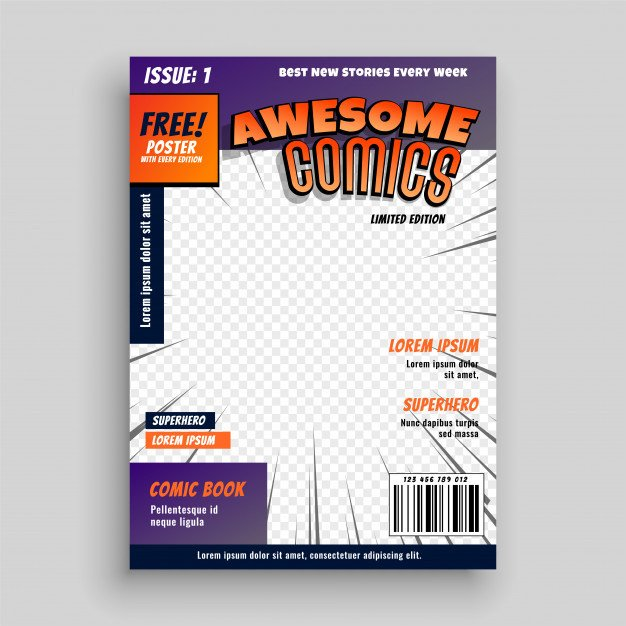 Comic Book Cover Template Stylish Ic Book Cover Page Design Template Vector