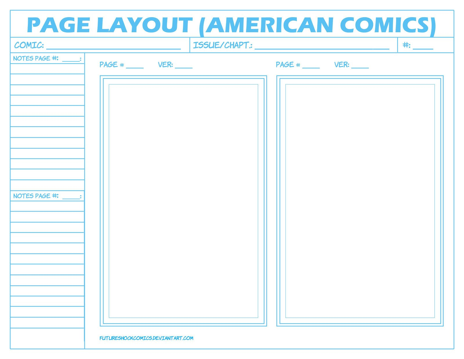 Comic Book Page Template Ic Layout Page American by Futureshock Ics On
