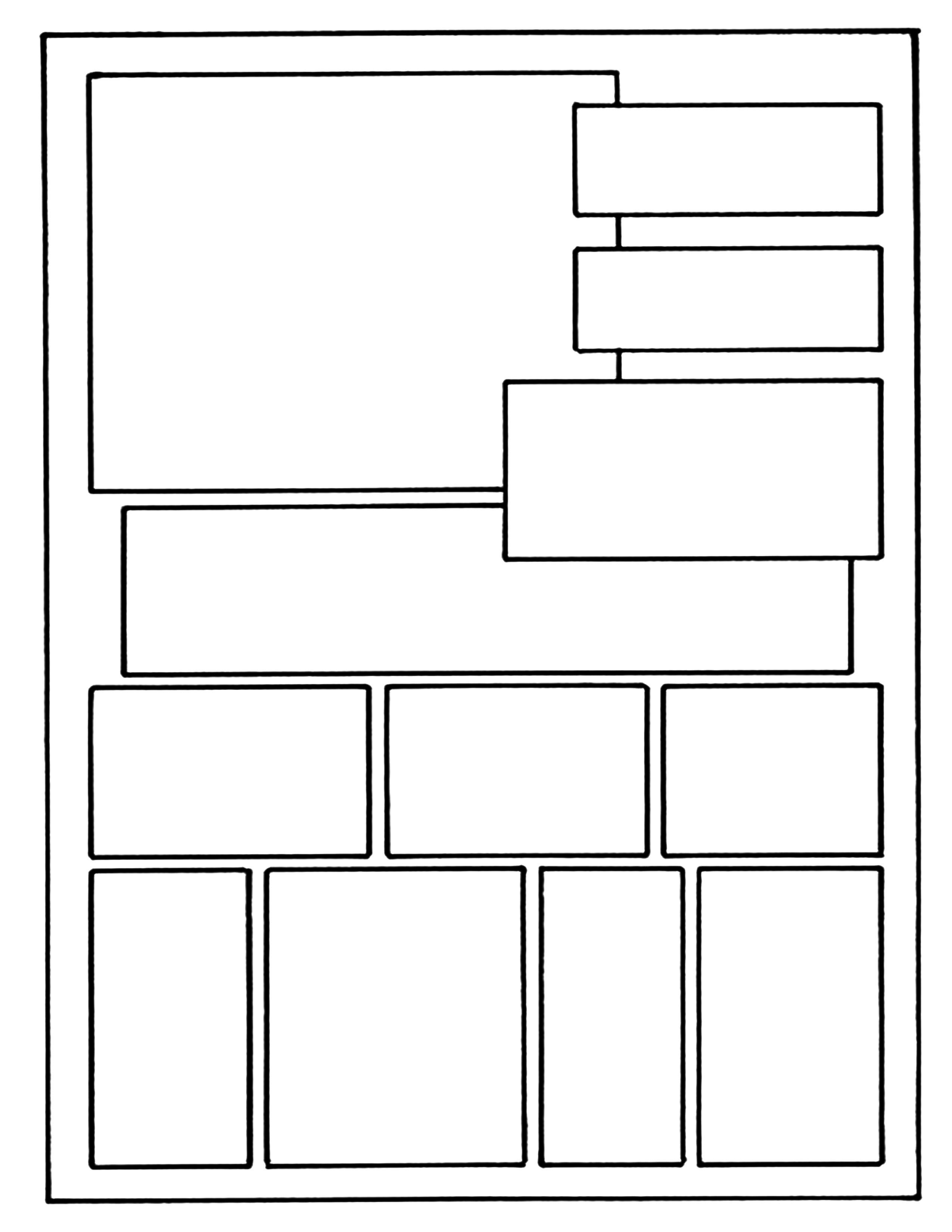 Comic Book Page Template Layout On 8 1 X 11 Example Ic Book Layout