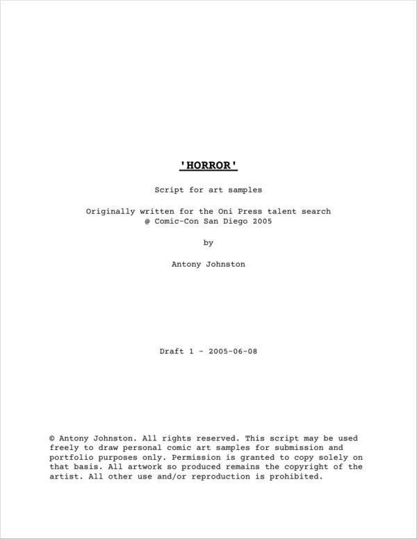 Comic Book Script Template 9 Script Samples and Templates Pdf
