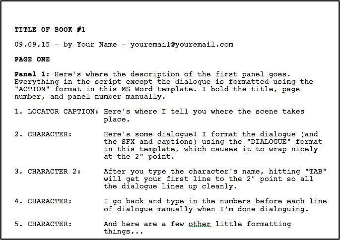 Comic Book Script Template Greg Pak • Ic Book Writer • Filmmakerdownloadable Ms