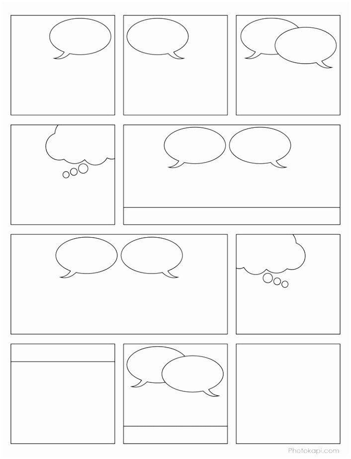 Comic Strip Template Word 9 Printable Blank Ic Strip Template for Kids Iowui