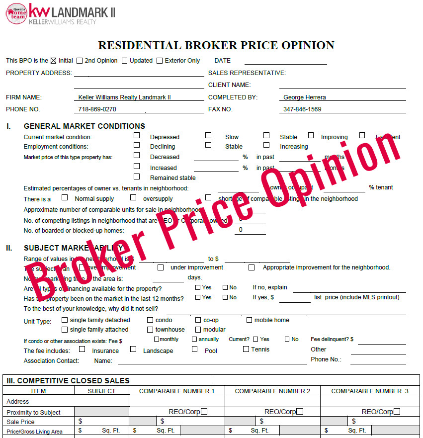 Commercial Broker Price Opinion Template Broker Price Opinion Free Broker Price Opinion