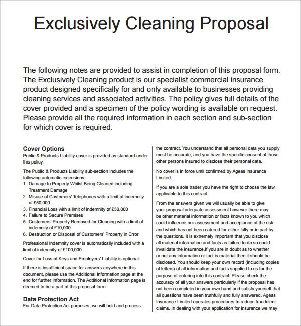 Commercial Cleaning Proposal Template Free 16 Cleaning Proposal Templates Pdf Word