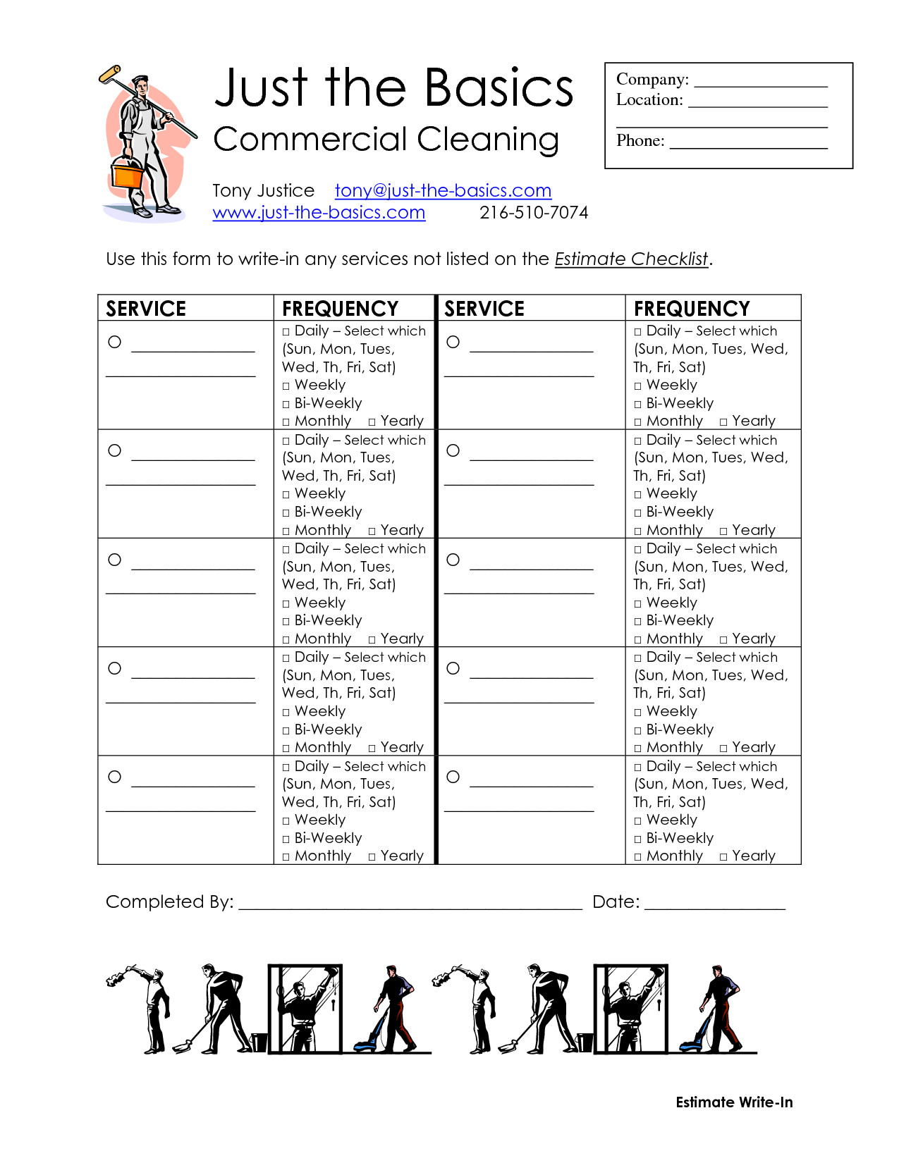 Commercial Cleaning Proposal Template Free Mercial Cleaning Checklist Printable