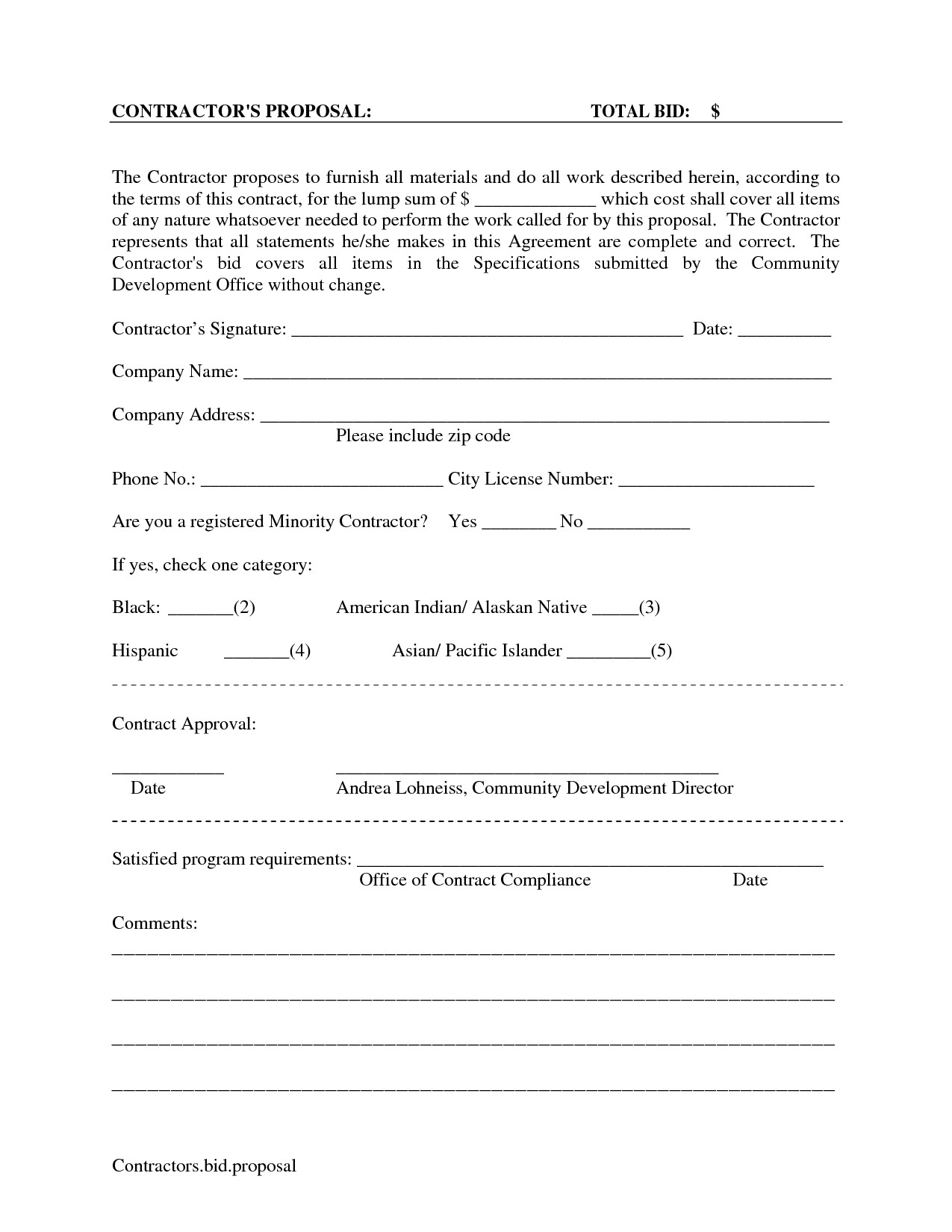 Commercial Cleaning Proposal Template Free Printable Blank Bid Proposal forms