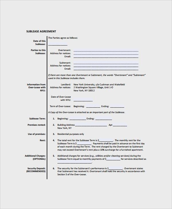 Commercial Sublease Agreement Template 10 Mercial Sublease Agreements Word Pdf Pages