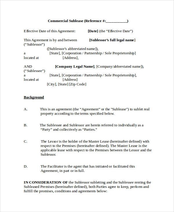 Commercial Sublease Agreement Template 13 Sublease Agreements Word Pdf Pages