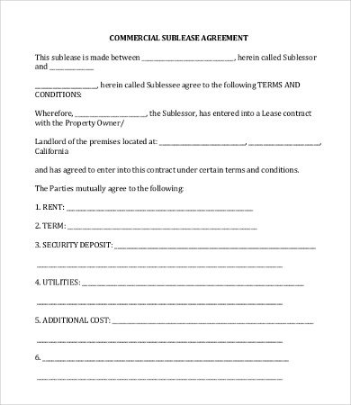 Commercial Sublease Agreement Template 18 Simple Mercial Lease Agreement Templates Word