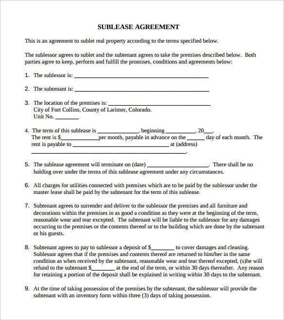 Commercial Sublease Agreement Template 42 Agreement Templates Word Pdf