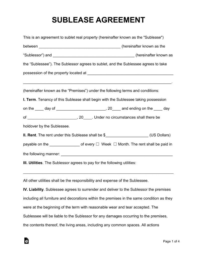 Commercial Sublease Agreement Template Free Rental Lease Agreement Templates Residential