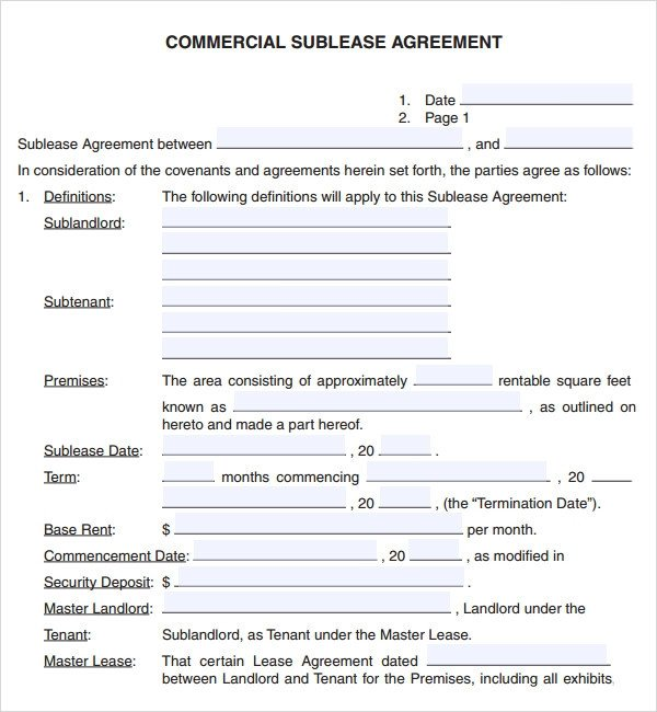 Commercial Sublease Agreement Template Mercial Lease Agreement 7 Free Download for Pdf