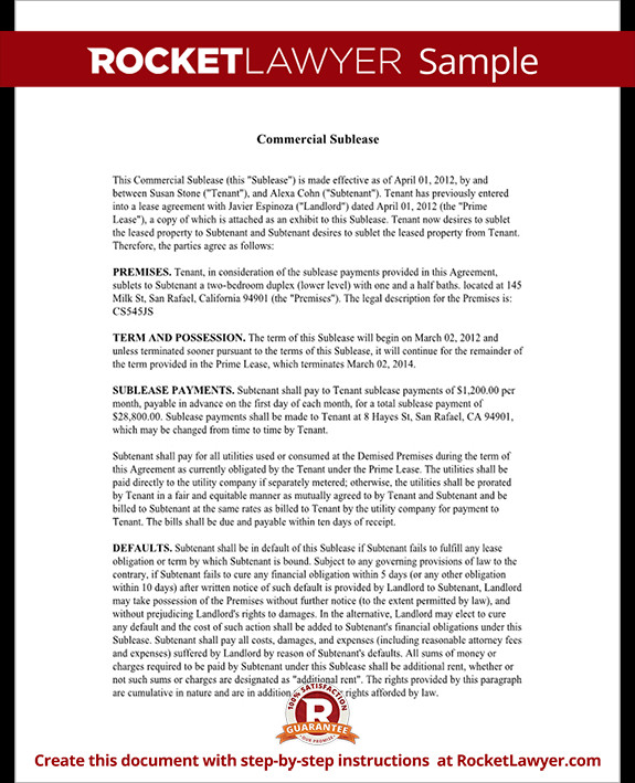 Commercial Sublease Agreement Template Mercial Sublease Agreement Fice Space Sublease