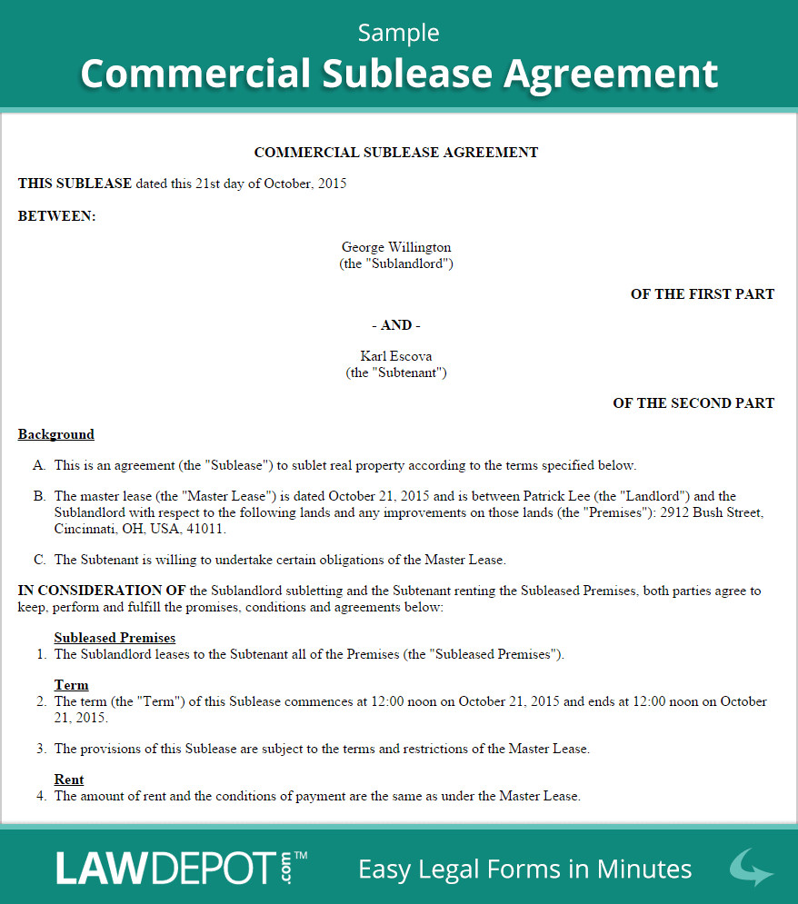 Commercial Sublease Agreement Template Mercial Sublease Agreement Template Us