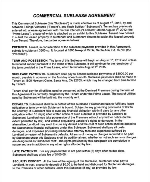 Commercial Sublease Agreement Template Printable Agreement Samples