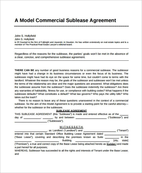 Commercial Sublease Agreement Template Sublease Agreement 10 Example format
