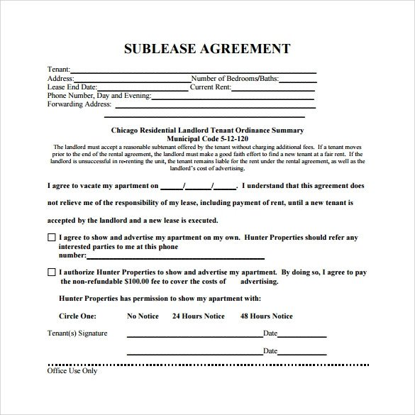 Commercial Sublease Agreement Template Sublease Agreement 25 Download Free Documents In Pdf Word