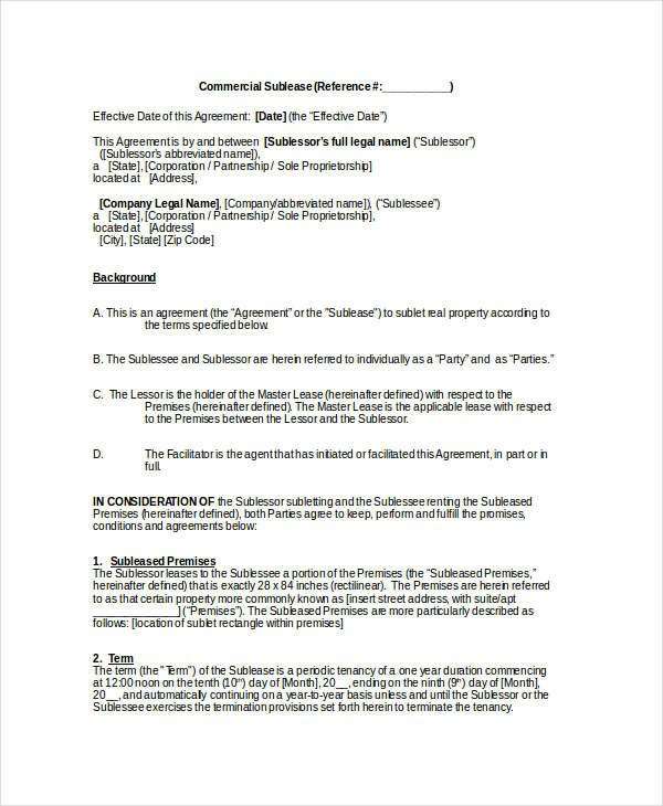 Commercial Sublease Agreement Template Sublease Contract 8 Word Pdf Google Docs Documents