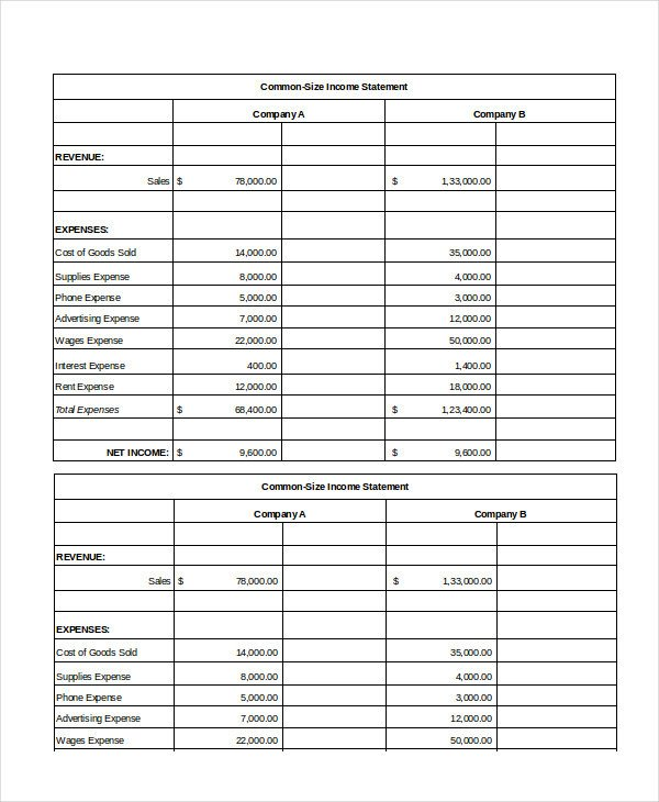 Common Size Income Statement Template Excel In E Statement 7 Free Excel Documents Download