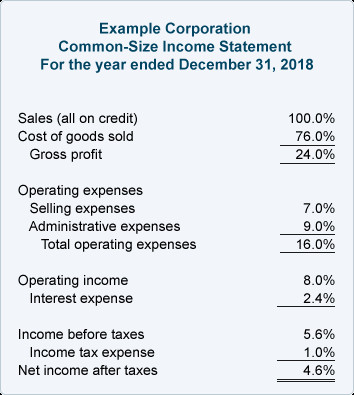 Common Size Income Statement Template Financial Ratios In E Statement