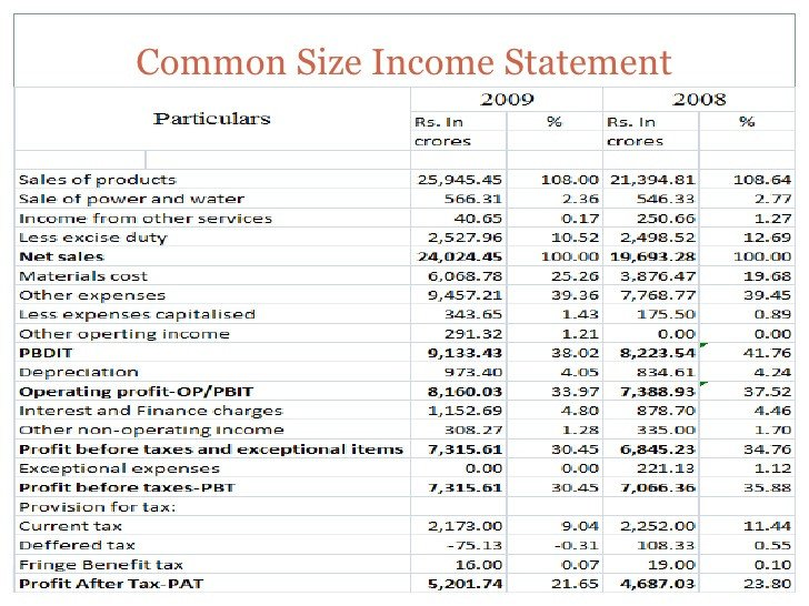 Common Size Income Statement Template Mon Size Analysis