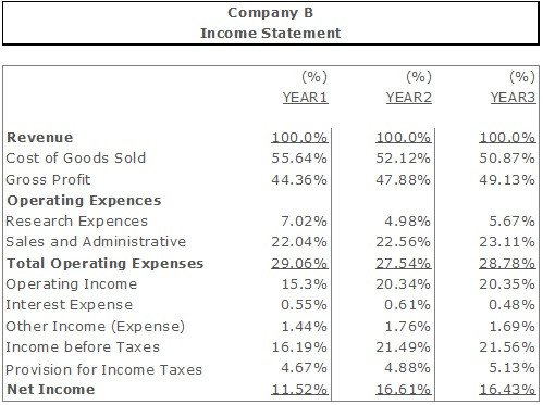 Common Size Income Statement Template the Mon Size Financial Statement Analysis Vertical and