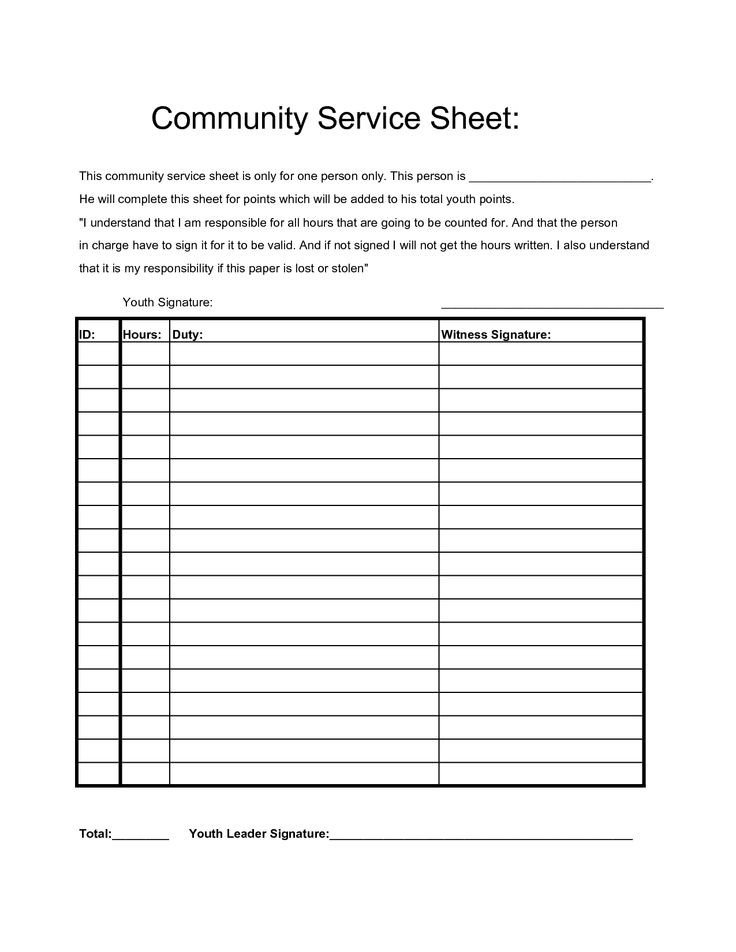 Community Service Hours Template Munity Service Hours Sheet