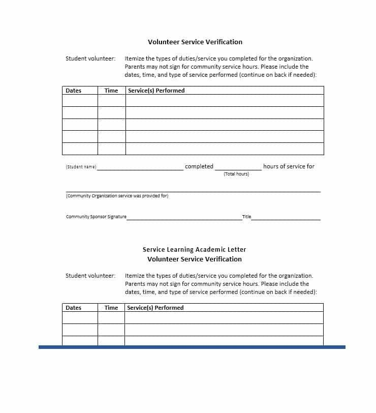Community Service Hours Template Munity Service Letter 40 Templates [ Pletion