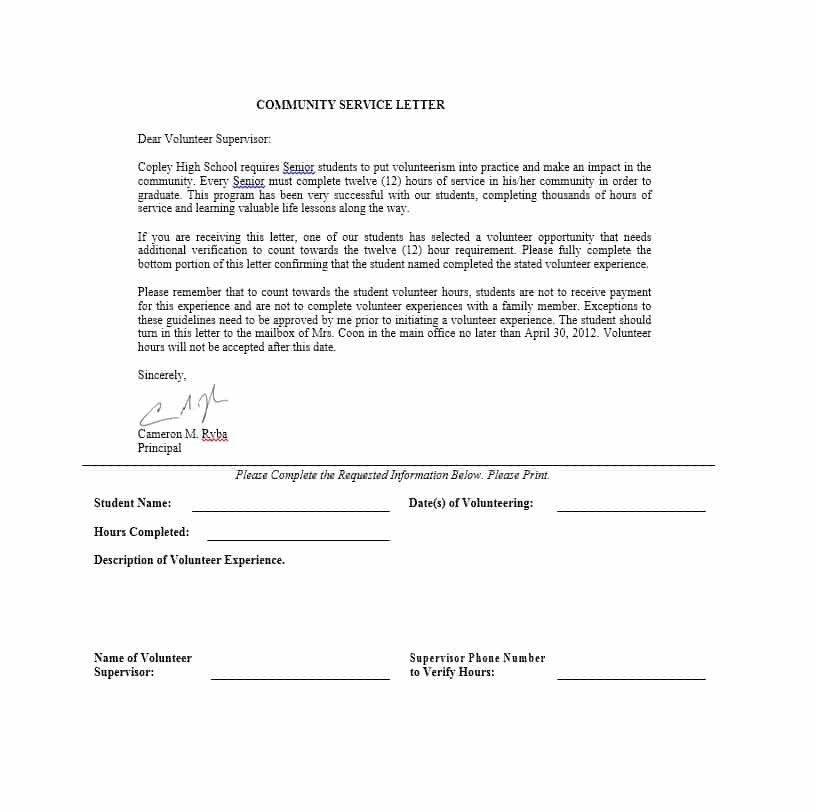 Community Service Hours Template Munity Service Letter 40 Templates [ Pletion