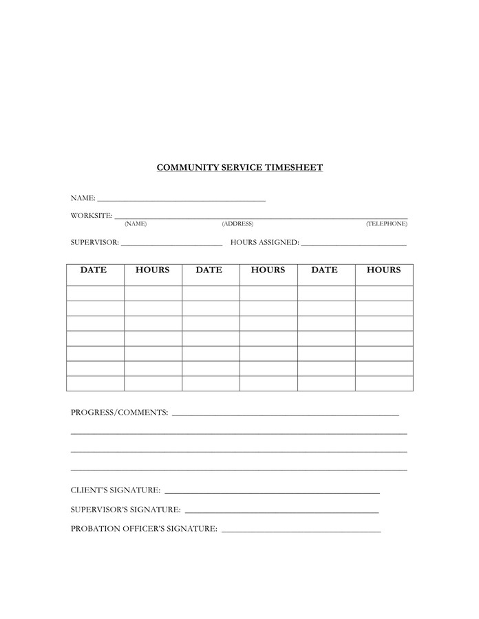 Community Service Hours Template Munity Service Timesheet Template In Word and Pdf formats