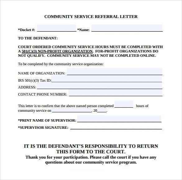 Community Service Hours Template Sample Munity Service Letter 25 Download Free