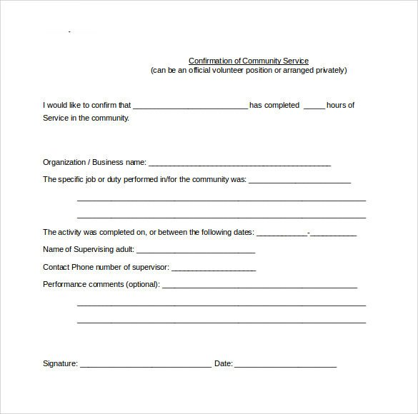 Community Service Hours Template Sample Service Hour form 13 Download Free Documents In