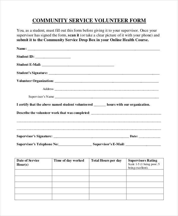Community Service Hours Template Service form Template