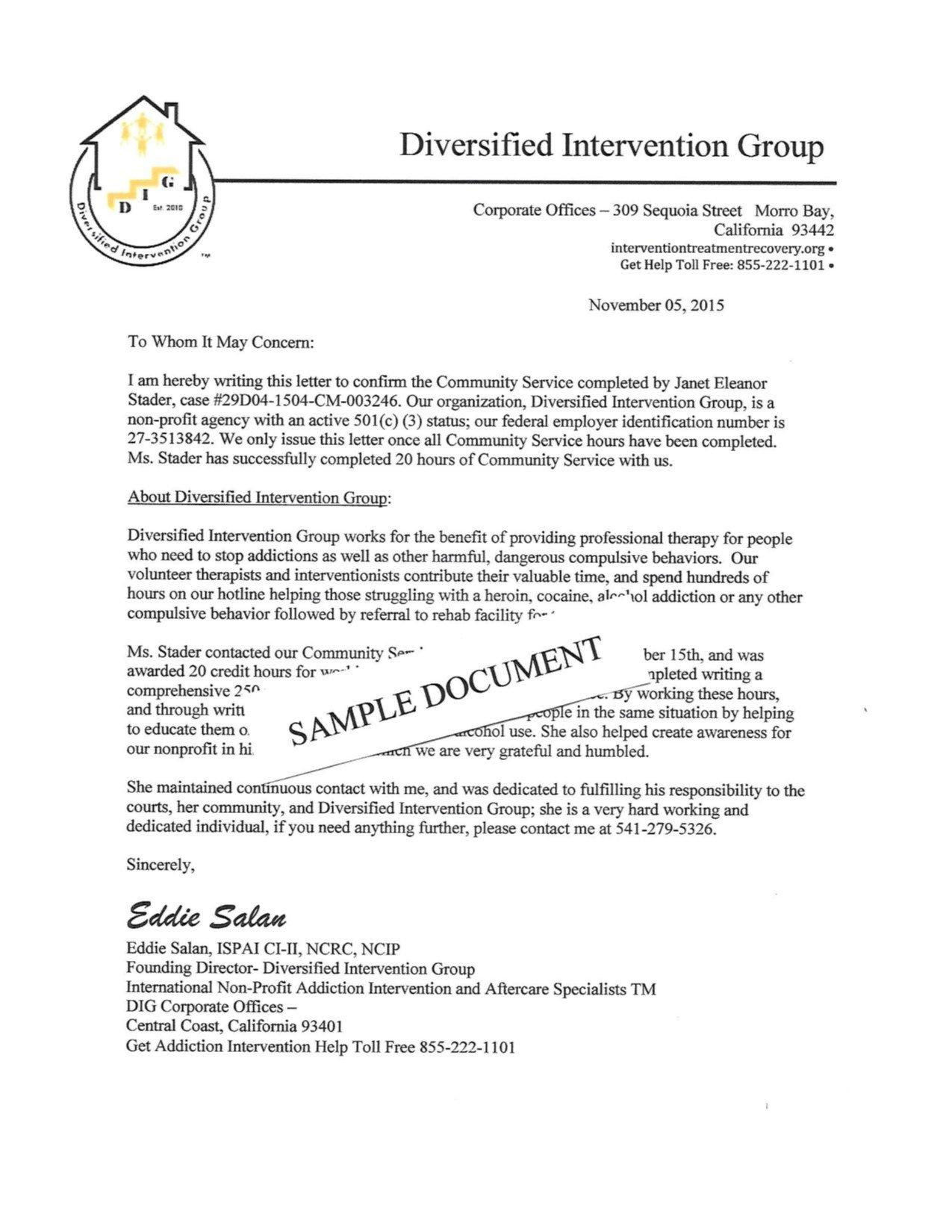 Community Service Letter Template Munity Service Letterhead Sample