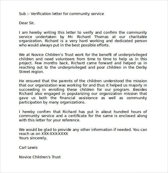 Community Service Letter Template Sample Munity Service Letter 25 Download Free