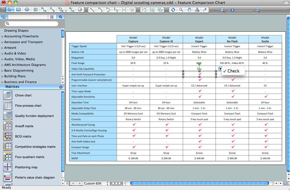 Comparison Chart Template Excel Feature Parison Chart software Marketing
